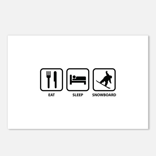 Eat Sleep Snowboard Postcards (Package of 8)