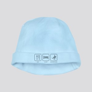 Eat Sleep Snowboard baby hat