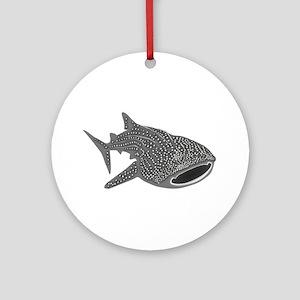 whale shark diver diving scuba Ornament (Round)