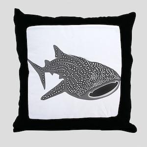 whale shark diver diving scuba Throw Pillow