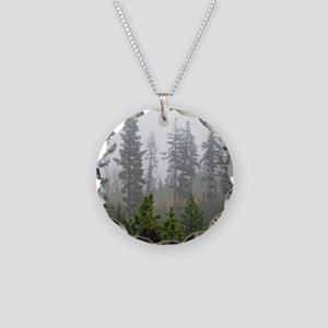 Misty forest Necklace Circle Charm