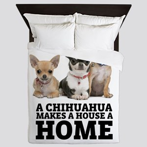 Home with Chihuahuas Queen Duvet