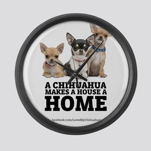 Home with Chihuahuas Large Wall Clock