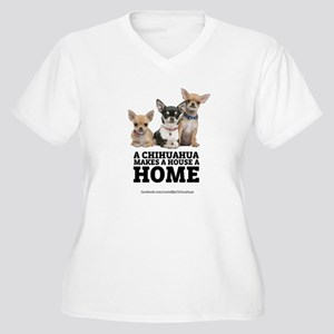 Home with Chihuahuas Women's Plus Size V-Neck T-Sh
