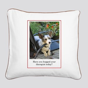 Corgi Therapist Square Canvas Pillow