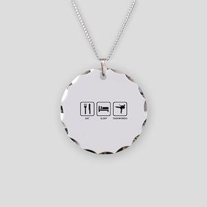 Eat Sleep Taekwondo Necklace Circle Charm