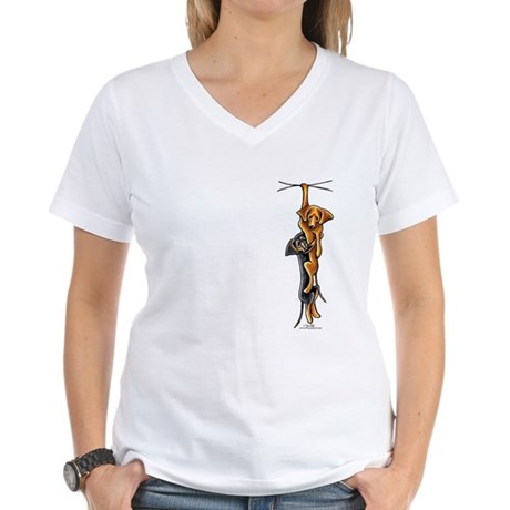 Clingy Dachshunds Women's V-Neck T-Shirt