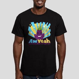 Emoji Eggplant Aw Yeah Men's Fitted T-Shirt (dark)