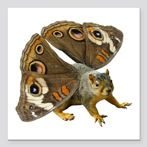 "Butterfly Squirrel Square Car Magnet 3"" x 3"""