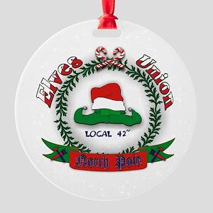 Elves Union Christmas Round Ornament