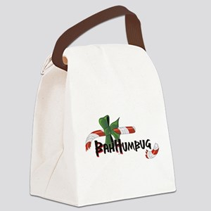 Bah Humbug Broken Candy Cane Canvas Lunch Bag