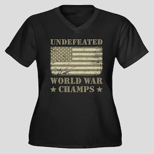 World War Ch Women's Plus Size V-Neck Dark T-Shirt