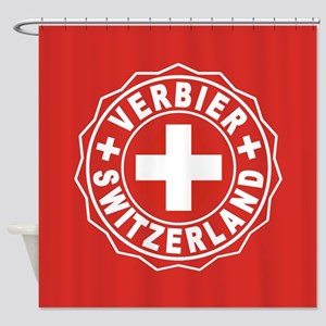 Verbier White Cross Shower Curtain