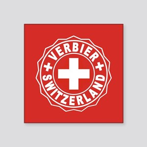 "Verbier White Cross Square Sticker 3"" x 3"""