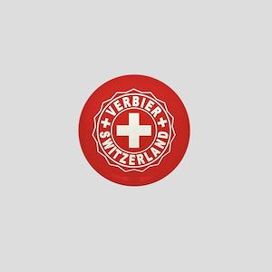 Verbier White Cross Mini Button