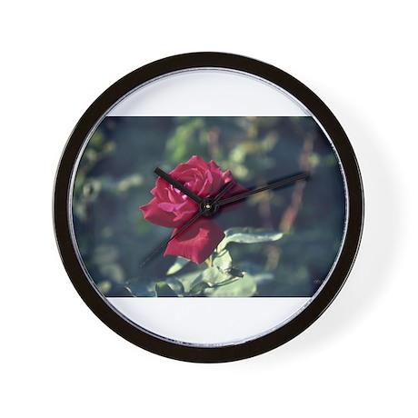 Burgundy Rose Wall Clock