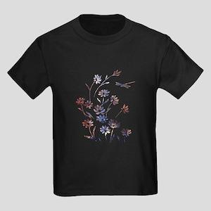 Daisies and Dragonfly - Dark Kids Dark T-Shirt