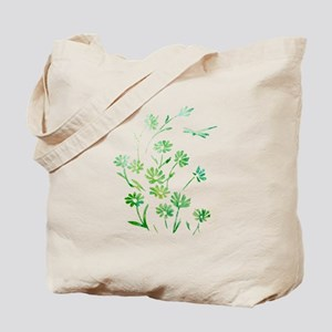 Daisy Dragonfly Green Tote Bag