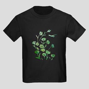 Daisy Dragonfly Green Kids Dark T-Shirt
