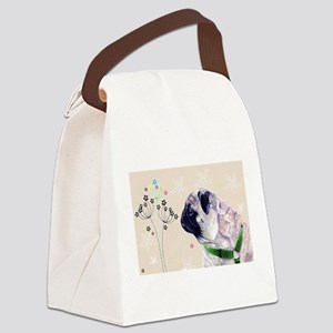 Pug Flowers Canvas Lunch Bag