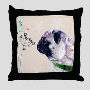 Pug and Flowers Throw Pillow