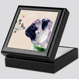 Pug and Flowers Keepsake Box
