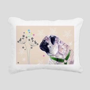 Pug Flowers Rectangular Canvas Pillow