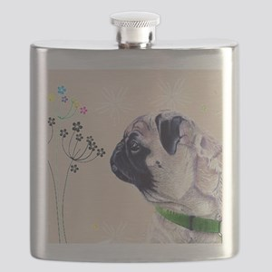 Pug and Flowers Flask