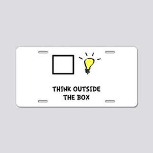 Think Outside The Box Aluminum License Plate