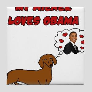 My Wiener Loves Obama Tile Coaster