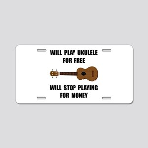 Ukulele Playing Aluminum License Plate