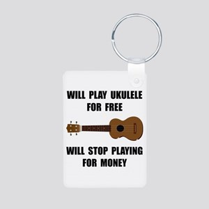 Ukulele Playing Aluminum Photo Keychain