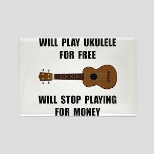 Ukulele Playing Rectangle Magnet (10 pack)