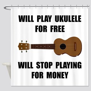 Ukulele Playing Shower Curtain