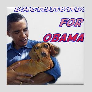 Obama Holding Dachshund Tile Coaster