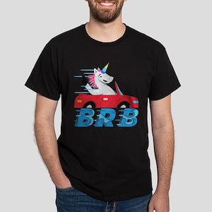 Emoji Unicorn BRB Dark T-Shirt