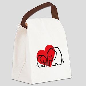 I Love Elephants Canvas Lunch Bag