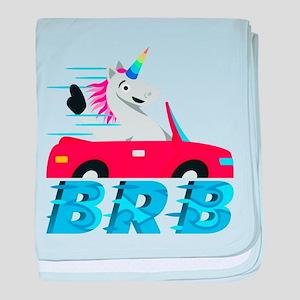 Emoji Unicorn BRB baby blanket