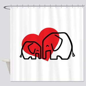 I Love Elephants Shower Curtain