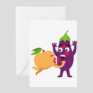 Emoji Peach Eggplant Kiss Greeting Card