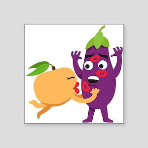 "Emoji Peach Eggplant Kiss Square Sticker 3"" x 3"""