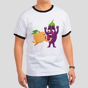 Emoji Peach Eggplant Kiss Ringer T
