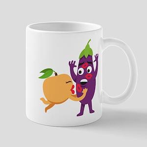 Emoji Peach Eggplant Kiss 11 oz Ceramic Mug