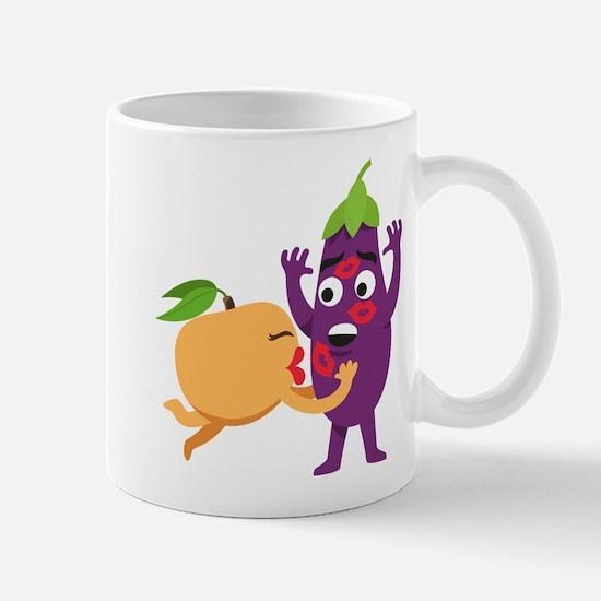 Emoji Peach Eggplant Kiss Mug