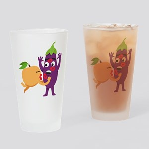 Emoji Peach Eggplant Kiss Drinking Glass