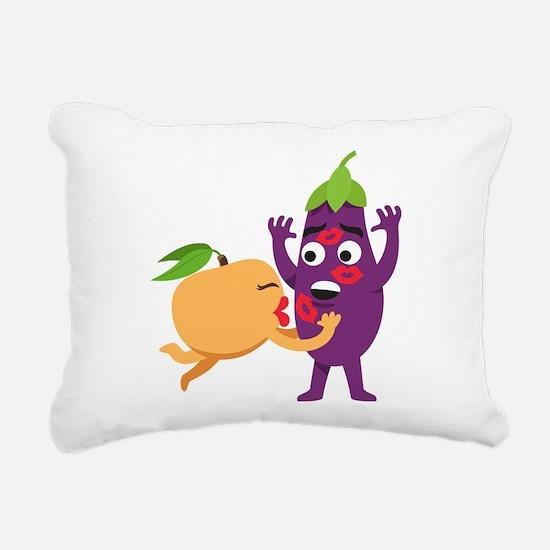 Emoji Peach Eggplant Kis Rectangular Canvas Pillow