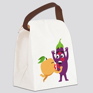 Emoji Peach Eggplant Kiss Canvas Lunch Bag