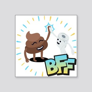 "Emoji Poop Toilet Paper BFF Square Sticker 3"" x 3"""