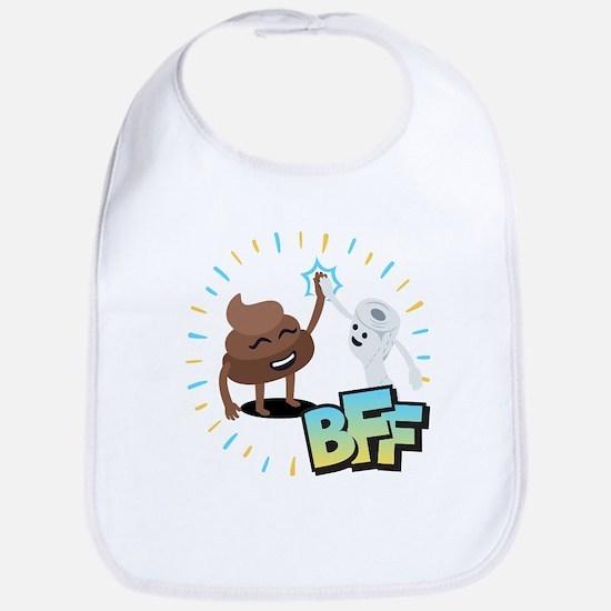 Emoji Poop Toilet Paper BFF Cotton Baby Bib