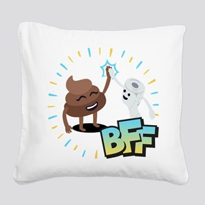 Emoji Poop Toilet Paper BFF Square Canvas Pillow